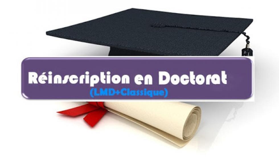 Réinscriptions en Doctorat Sciences/LMD pour l'année universitaire 2020/2021